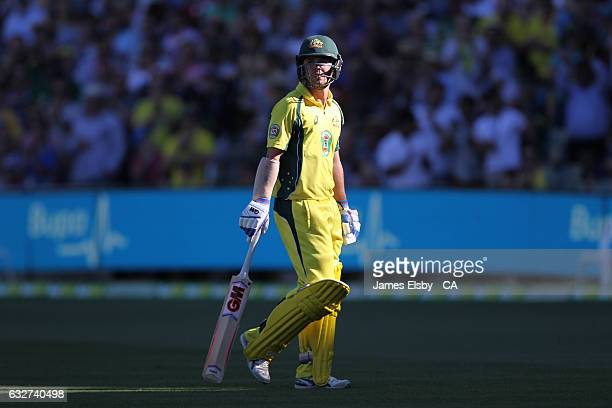 Travis Head of Australia reacts after losing his wicket during game five of the One Day International series between Australia and Pakistan at...