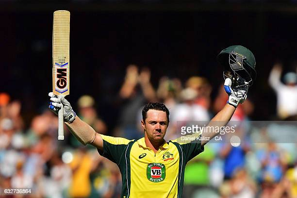 Travis Head of Australia reacts after reaching his century during game five of the One Day International series between Australia and Pakistan at...