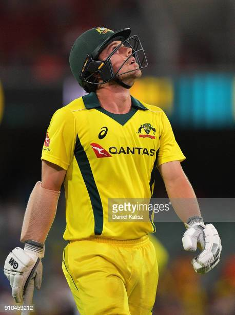 Travis Head of Australia walks from the field looking dejected during game four of the One Day International series between Australia and England at...