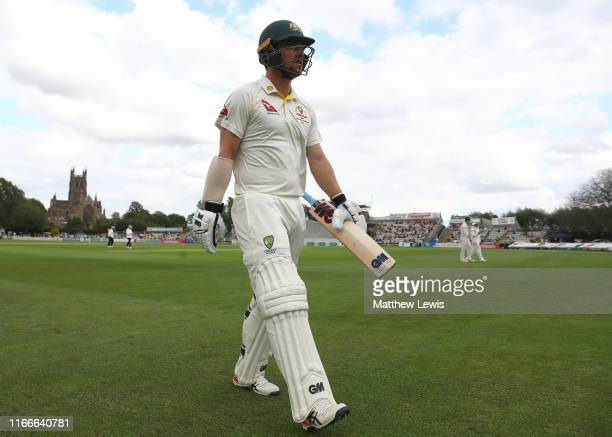 Travis Head of Australia walks off after his innings of 109 runs, as his team declare during the first day of the Tour Match between Worcester and...