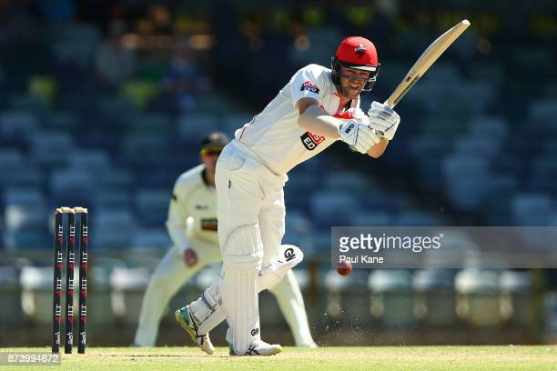 Travis Head of South Australia bats during day two of the Sheffield Shield match between Western Australia and South Australia at WACA on November 14...