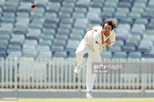 Travis Head of South Australia bowls during day two of the Sheffield Shield match between Western Australia and South Australia at WACA, on October...