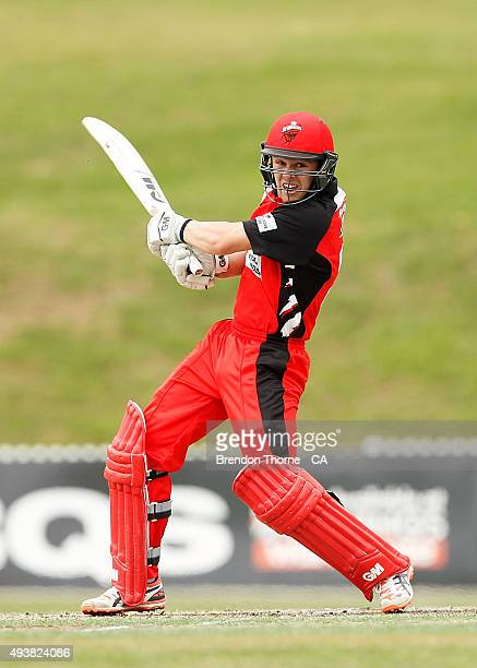 Travis Head of South Australia plays a cut shot during the Matador BBQs One Day Cup Elimination Final match between Victoria and South Australia at...