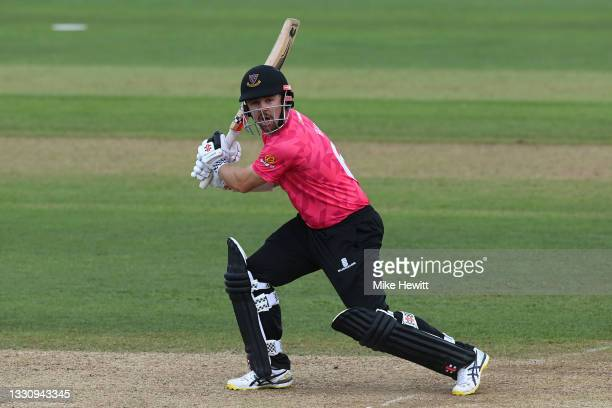Travis Head of Sussex in actino during the Royal London Cup match between Hampshire and Sussex at Ageas Bowl on July 27, 2021 in Southampton, England.