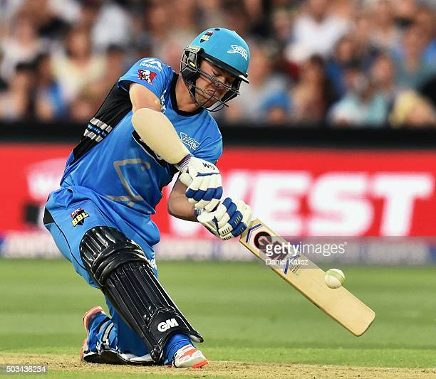 Travis Head of the Adelaide Strikers bats during the Big Bash League match between the Adelaide Strikers and Perth Scorchers at Adelaide Oval on...