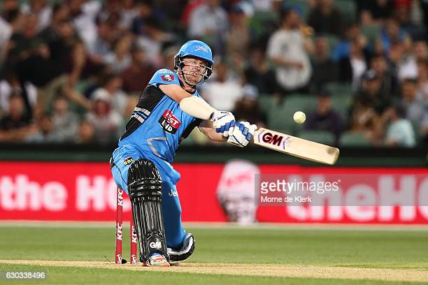 Travis Head of the Adelaide Strikers bats during the Big Bash League match between the Adelaide Strikers and Brisbane Heat at Adelaide Oval on...