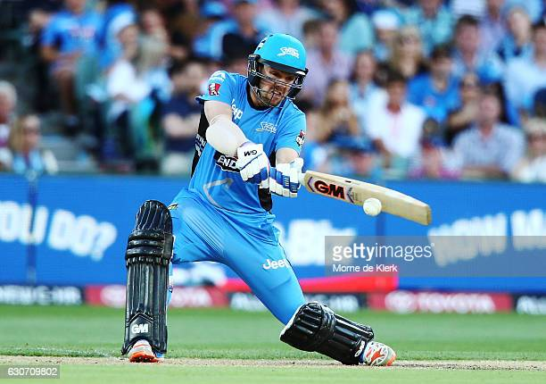 Travis Head of the Adelaide Strikers bats during the Big Bash League match between the Adelaide Strikers and Sydney Sixers at Adelaide Oval on...