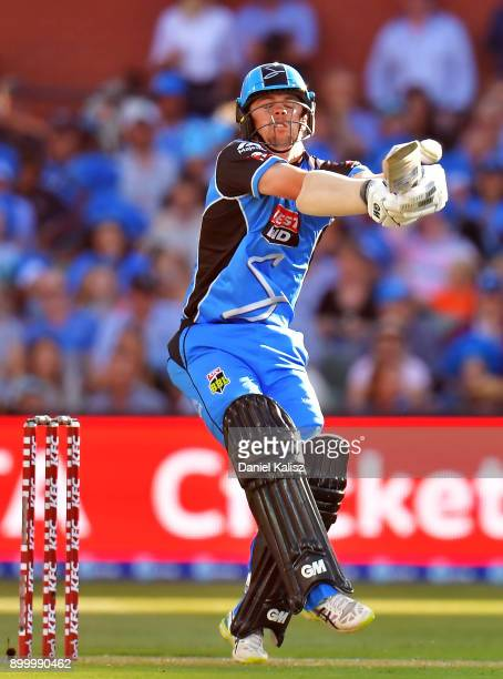 Travis Head of the Adelaide Strikers bats during the Big Bash League match between the Adelaide Strikers and the Brisbane Heat at Adelaide Oval on...