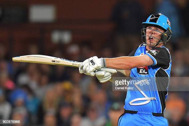 Travis Head of the Adelaide Strikers bats during the Big Bash League match between the Adelaide Strikers and the Melbourne Stars at Adelaide Oval on...