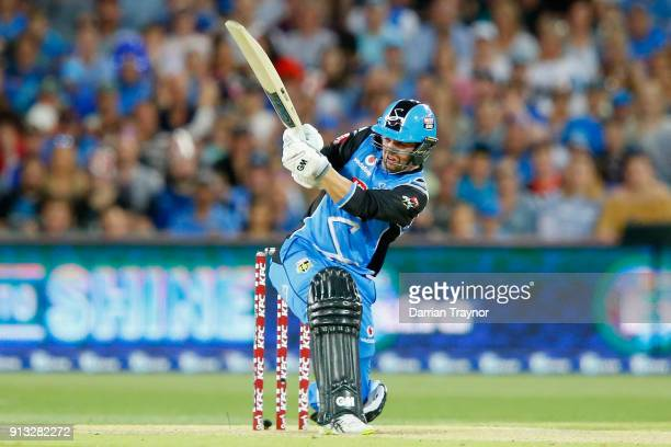 Travis Head of the Adelaide Strikers bats during the Big Bash League match between the Adelaide Strikers and the Melbourne Renegades at Adelaide Oval...