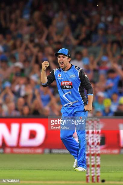 Travis Head of the Adelaide Strikers reacts after taking a catch to dismiss Aiden Blizzard of the Sydney Thunder during the Big Bash League match...