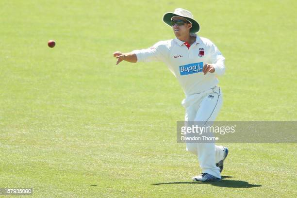 Travis Head of the Chairman's XI fields during day three of the international tour match between the Chairman's XI and Sri Lanka at Manuka Oval on...