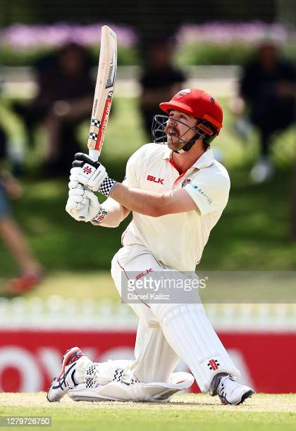 Travis Head of the Redbacks bats during day three of the Sheffield Shield match between South Australia and Western Australia at Karen Rolton Oval on...