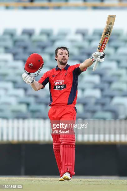 Travis Head of the Redbacks celebrates his century during the Marsh One Day Cup match between Western Australia and South Australia at WACA on March...