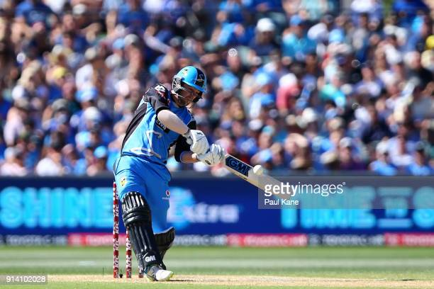 Travis Head of the Strikers bats during the Big Bash League Final match between the Adelaide Strikers and the Hobart Hurricanes at Adelaide Oval on...