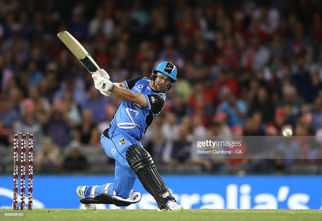 Travis Head of the Strikers bats during the Big Bash League match between the Melbourne Renegades and the Adelaide Strikers at Etihad Stadium on January 22, 2018 in Melbourne, Australia.