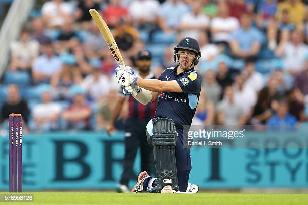 Travis Head of Yorkshire bats during the NatWest T20 Blast match between Yorkshire Vikings and Nothamptonshire Steelbacks at Headingley on July 22...