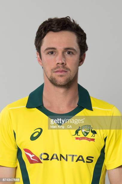 Travis Head poses during the Australia One Day International Team Headshots Session at Intercontinental Double Bay on October 15 2017 in Sydney...