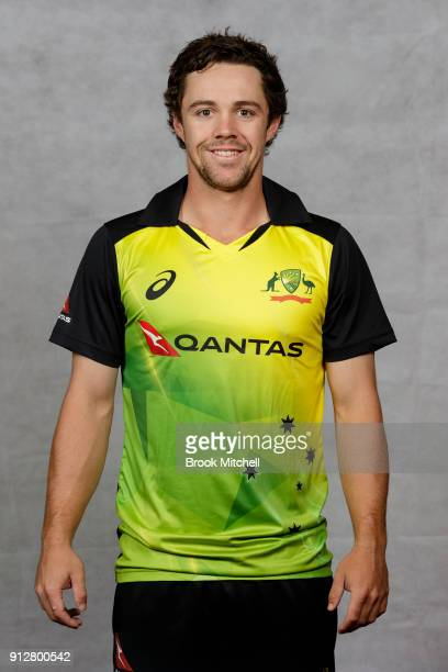 Travis Head poses during the Australian International Twenty20 headshots session at Sydney Cricket Ground on February 1 2018 in Sydney Australia