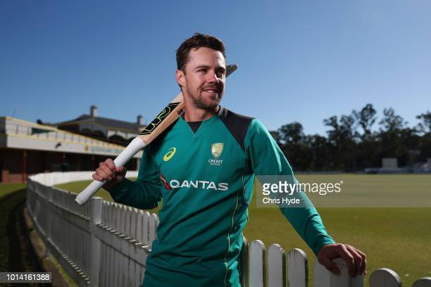 Travis Head poses for a portrait before an Australia A training session at Allan Border Field at Allan Border Field on August 10 2018 in Brisbane...