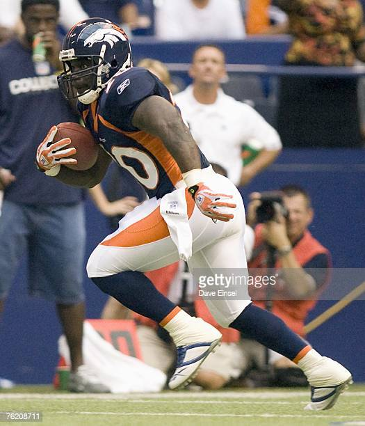 Travis Henry of the Denver Broncos rushes during a preseason game against the Dallas Cowboys at Texas Stadium on August 18 2007 in Irving Texas