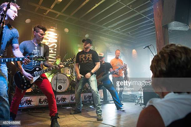 Travis Hortsman, Marshall Miller, Brad Wright, Dean Maag, and Mike Wright performs at the Nashville Crush showcase at The High Watt on July 30, 2014...