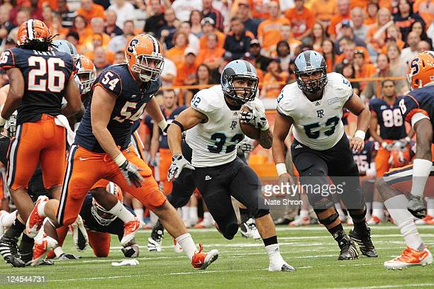 Travis Hurd of the Rhode Island Rams runs the ball against the Syracuse Orange during the game on September 10 2011 at the Carrier Dome in Syracuse...
