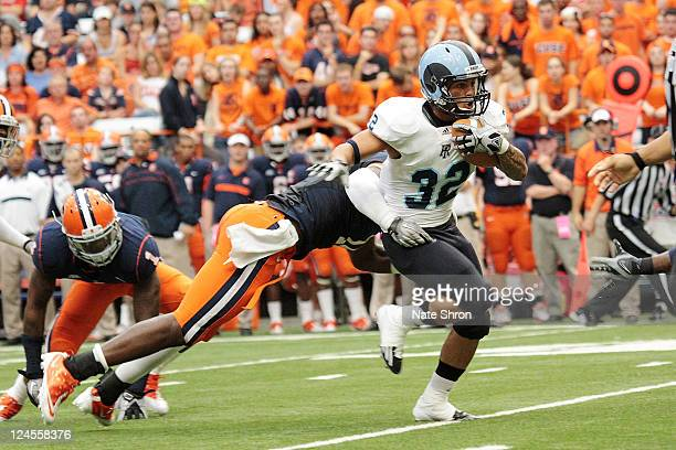 Travis Hurd of the Rhode Island Rams runs the ball during the game against the Syracuse Orange on September 10 2011 at the Carrier Dome in Syracuse...