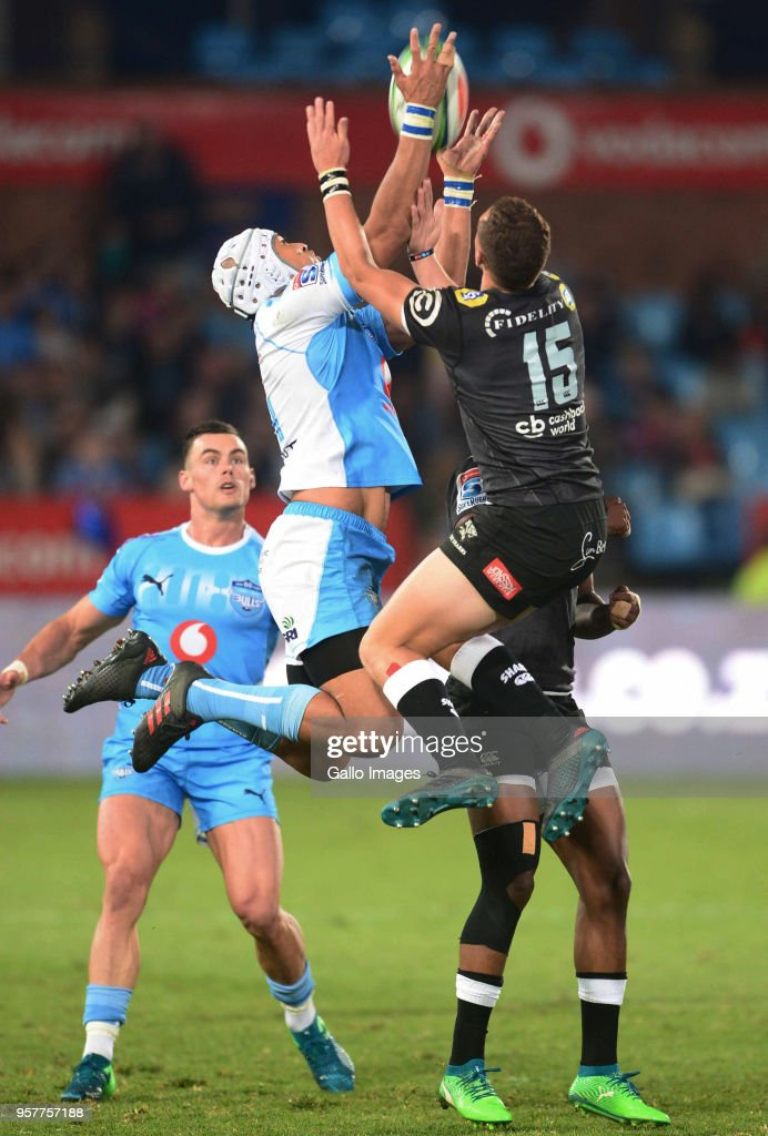 Travis Ismaiel of the Bulls and Curwin Bosch of the Sharks during the Super Rugby match between Vodacom Bulls and Cell C Sharks at Loftus Versfeld on May 12, 2018 in Pretoria, South Africa.