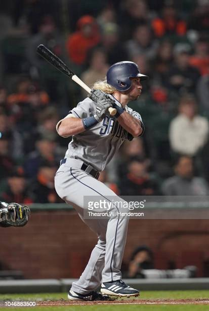 Travis Jankowski of the San Diego Padres bats against the San Francisco Giants in the top of the second inning at AT&T Park on September 26, 2018 in...
