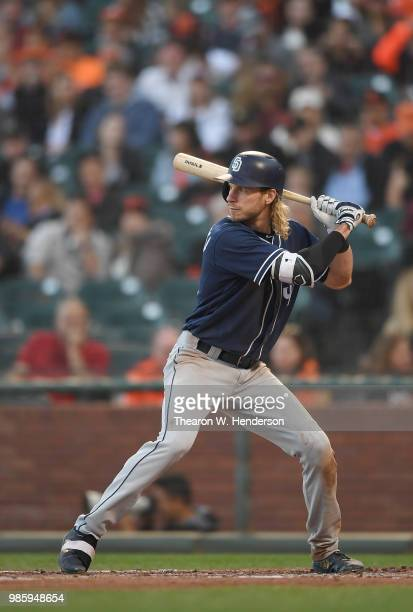 Travis Jankowski of the San Diego Padres bats against the San Francisco Giants in the top of the third inning at AT&T Park on June 22, 2018 in San...