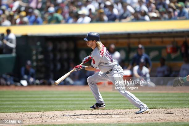 Travis Jankowski of the San Diego Padres bats during the game against the Oakland Athletics at the Oakland Alameda Coliseum on July 4, 2018 in...