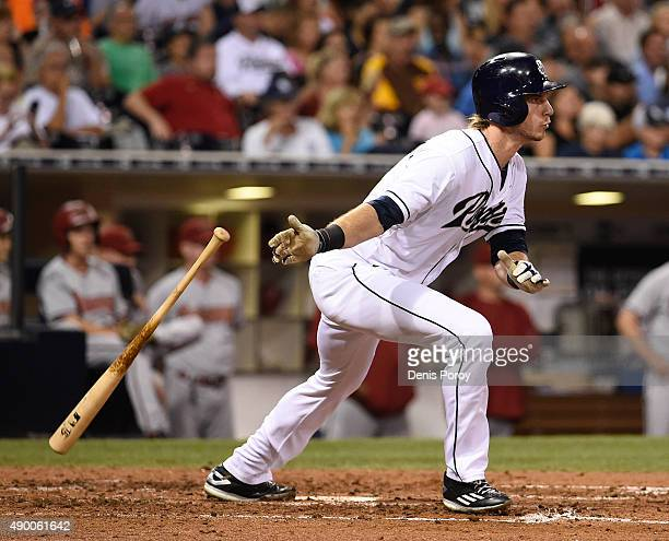 Travis Jankowski of the San Diego Padres hits a double during the fifth inning of a baseball game against the Arizona Diamondbacks at Petco Park...