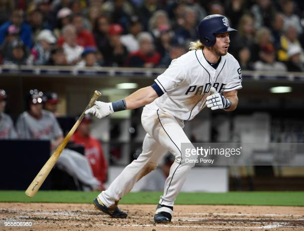 Travis Jankowski of the San Diego Padres hits a single during the fourth inning of a baseball game against the Washington Nationals at PETCO Park on...