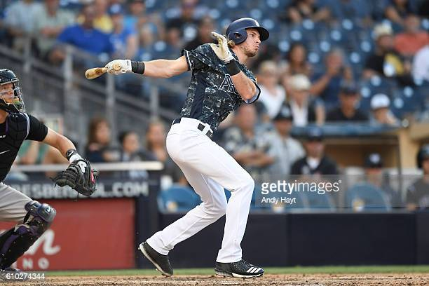 Travis Jankowski of the San Diego Padres hits during the game against the Colorado Rockies at PETCO Park on September 11, 2016 in San Diego,...