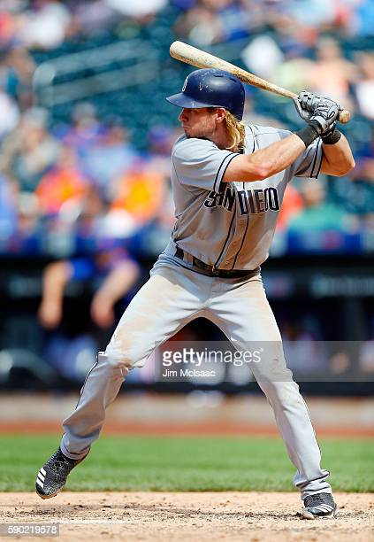 Travis Jankowski of the San Diego Padres in action against the New York Mets at Citi Field on August 14, 2016 in the Flushing neighborhood of the...