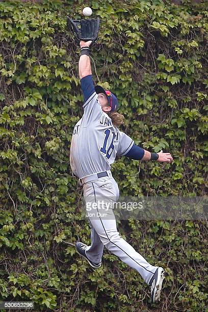 Travis Jankowski of the San Diego Padres makes a catch for an out on a hit by Kris Bryant of the Chicago Cubs to end the fourth inning during game...