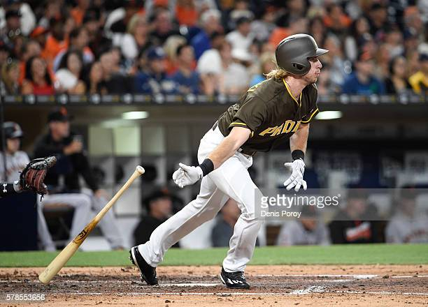 Travis Jankowski of the San Diego Padres plays during a baseball game against the San Francisco Giants at PETCO Park on July 15, 2016 in San Diego,...