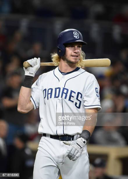 Travis Jankowski of the San Diego Padres plays during a baseball game against the Arizona Diamondbacks at PETCO Park on April 19, 2017 in San Diego,...