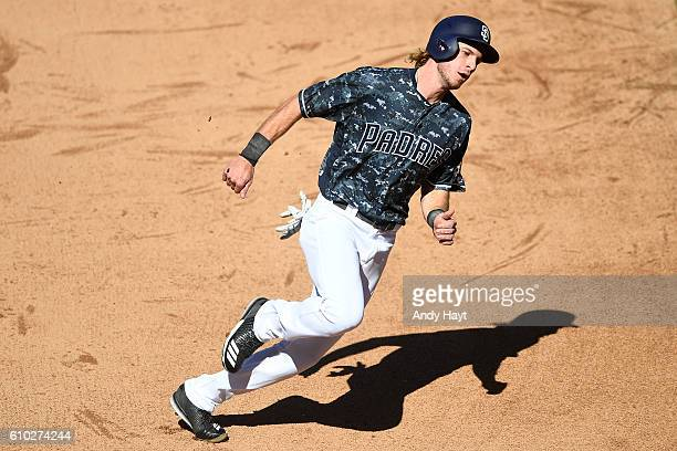 Travis Jankowski of the San Diego Padres runs to third base during the game against the Colorado Rockies at PETCO Park on September 11, 2016 in San...