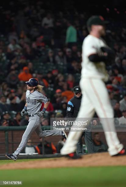 Travis Jankowski of the San Diego Padres trots around the bases after hitting a solo home run off of Pierce Johnson of the San Francisco Giants in...