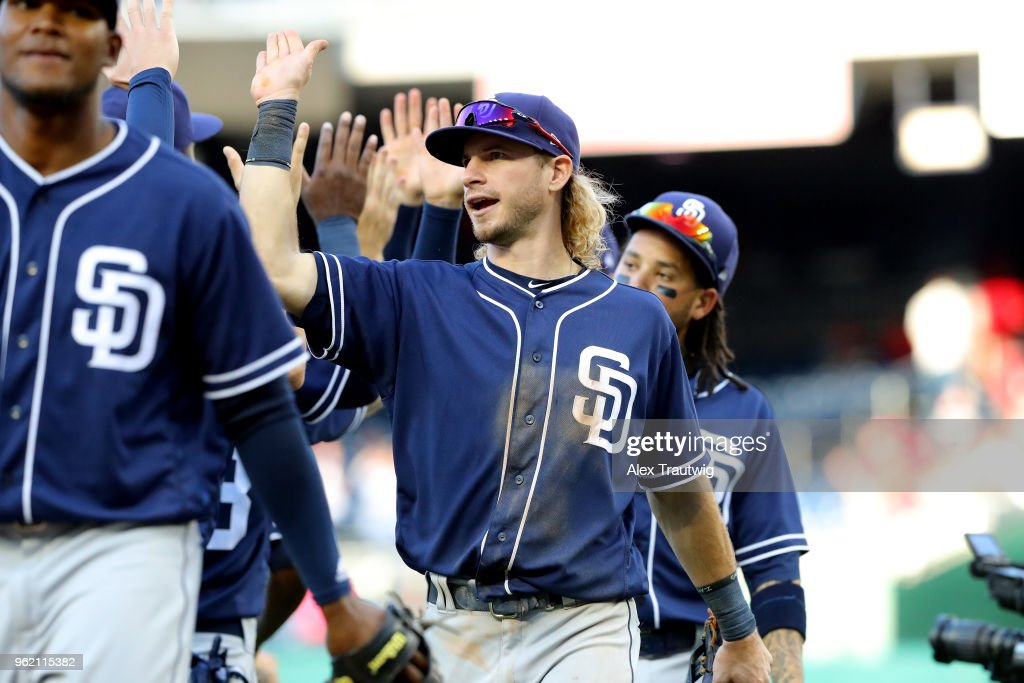 Travis Jankowski #16 San Diego Padres celebrates with teammates after defeating the Washington Nationals 3-1 in a game at Nationals Park on Wednesday, May 23, 2018 in Washington, D.C.