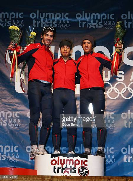 Travis Jayner second place Apolo Anton Ohno first place and JR Celski third place pose on the podium after the 1000 Meter Final at the US Short Track...