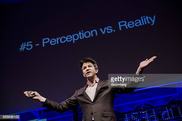 Travis Kalanick billionaire and chief executive officer of Uber Technologies Inc gestures whilst speaking during the opening of 'Startup Fest' a...