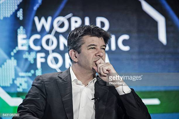 Travis Kalanick billionaire and chief executive officer of Uber Technologies Inc listens during a session at the World Economic Forum Annual Meeting...