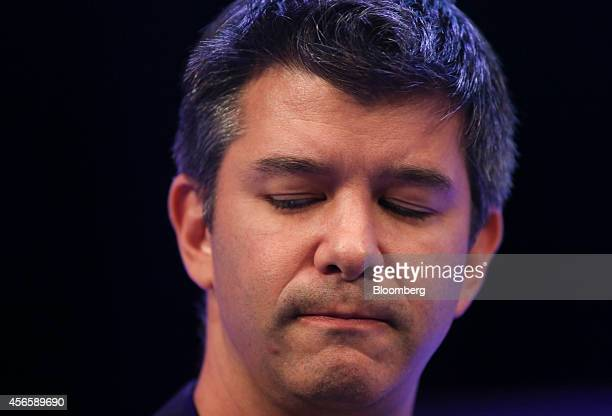 Travis Kalanick chief executive officer of Uber Technologies Inc pauses during the Institute of Directors annual convention at the Royal Albert Hall...