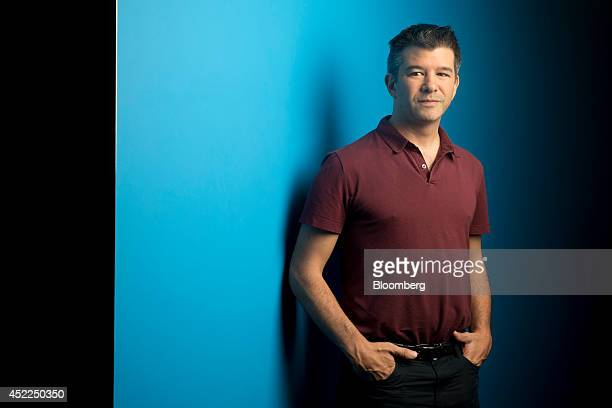 Travis Kalanick cofounder and chief executive officer of Uber Technologies Inc poses for a photograph following a Bloomberg Television interview in...