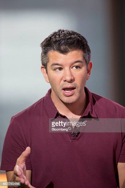 Travis Kalanick cofounder and chief executive officer of Uber Technologies Inc gestures as he speaks during a Bloomberg Television interview in Hong...