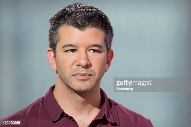 Travis Kalanick cofounder and chief executive officer of Uber Technologies Inc listens during a Bloomberg Television interview in Hong Kong China on...