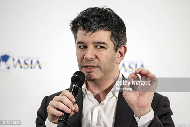 Travis Kalanick cofounder and chief executive officer of Uber Technologies Inc gestures whilst speaking at the Boao Forum For Asia Annual Conference...